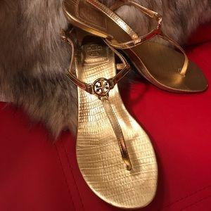 Tory Burch Sandal Kitten Heel Gold Size 7.5